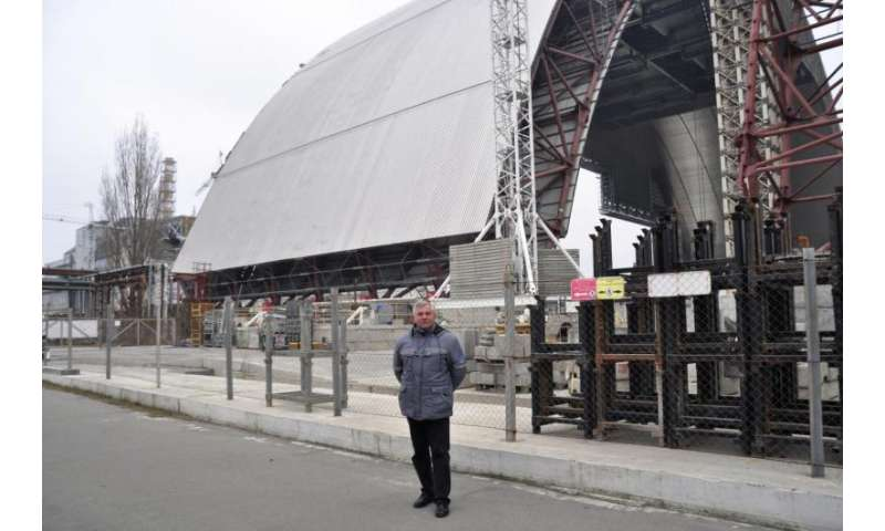 Steel structure shelters sarcophagus at Chernobyl