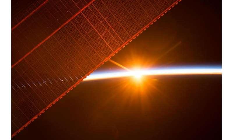 Sunrise through the solar arrays