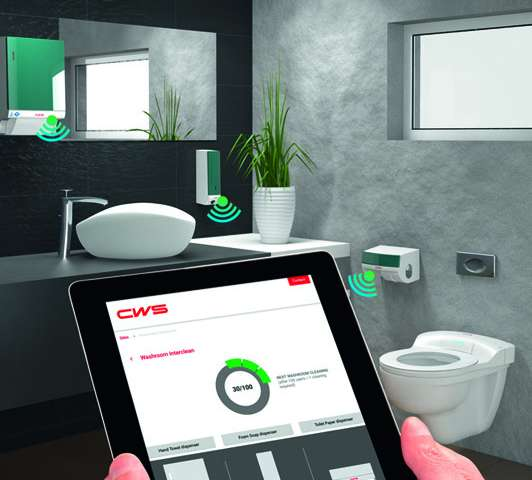 System monitors soap, cotton towel and toilet paper dispensers in washrooms
