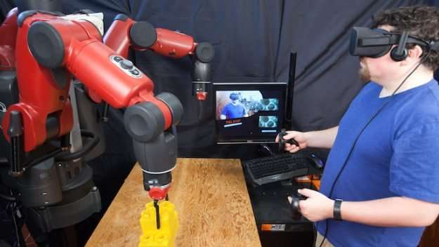 Teleoperating robots with virtual reality