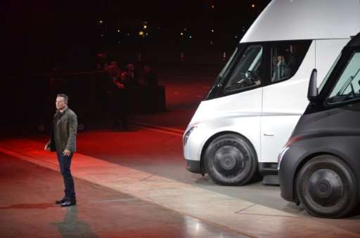 "Tesla Chairman and CEO Elon Musk unveils the new electric ""Semi"" Truck on November 16, 2017 in Hawthorne, California"