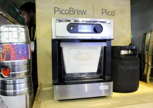 The $799 PicoBrew system on display at the Consumer Electronics Show uses PicoPacks based on recipes from craft breweries around