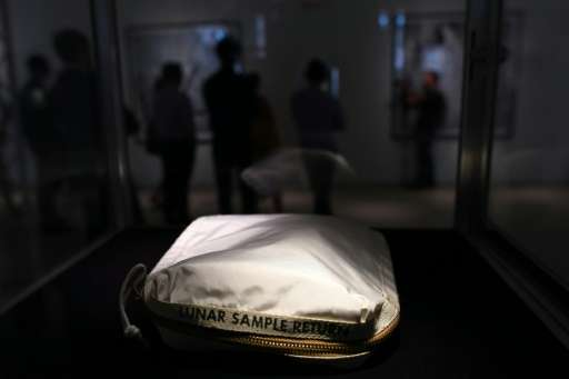 The Apollo 11 Contingency Lunar Sample Return Bag, used by Neil Armstrong on Apollo 11 to bring back the very first pieces of th
