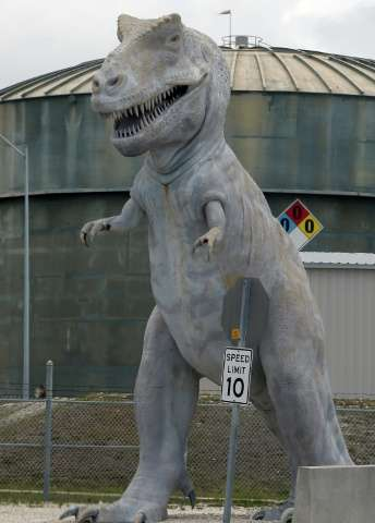 The dinosaur statue outside the Turkey Point Nuclear Power Plant was intended to symbolise the fate of fossil fuel power generat