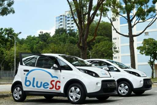 The electric Bluecars in  Singapore