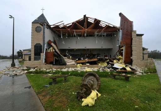 The First Baptist Church in Rockport, Texas, is in ruins after Hurricane Harvey