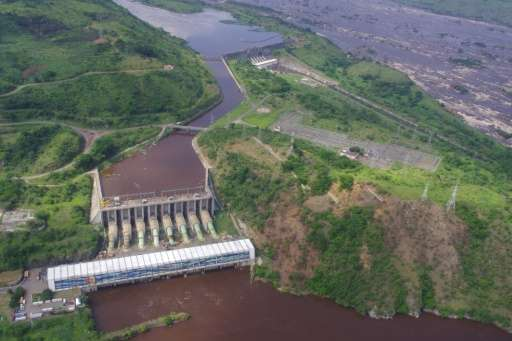 The Inga 1 (rear) and Inga 2 (front) power plants dams are seen on the Congo river in 2013, which the Inga 3 project would compl
