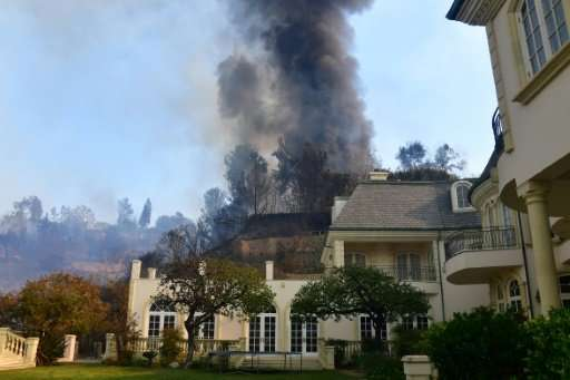 The luxurious multi-million homes in Bel-Air are threatened by the Skirball Fire, a blaze that destroyed 200 hectares (500 acres