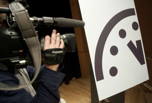 """The """"Doomsday Clock"""" was last changed in 2015—from five to three minutes to midnight"""