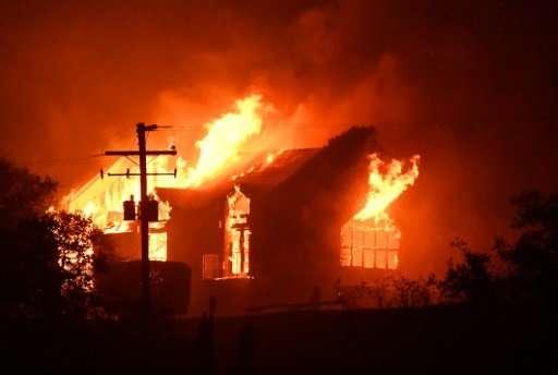 The Signorello Estate winery burns in California's Napa wine region