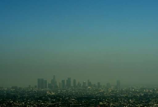 The smog-shrouded Los Angeles skyline is seen in this file photo from May 31, 2015. The latest US report says this current perio