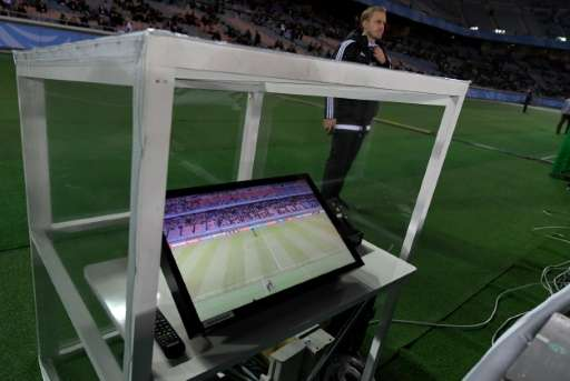 The video assistant referee system is placed beside the pitch prior to the Club World Cup semi-final football match between Mexi