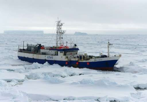 This 2015 US Coast Guard photo shows the Antarctic Chieftain as the US Coast Guard Cutter Polar Star begins breaking up the ice