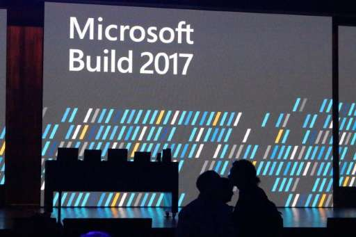 This image shows the stage of the Microsoft Build developers conference in Seattle, Washington on May 11, 2017, where the tech g