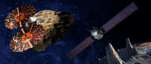 This NASA artist's conception released January 4, 2017 shows the Lucy spacecraft(L) flying by the Trojan Eurybates – one of the