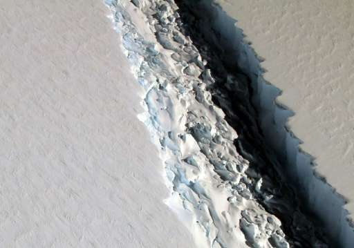 This NASA photo released December 1, 2016 shows what scientists on NASA's IceBridge mission photographed in a view of a massive