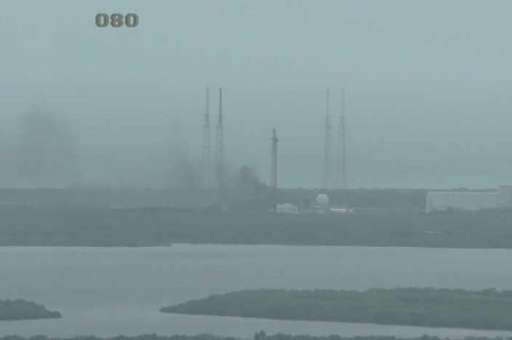 This NASA TV video grab file image obtained September 1, 2016 shows the SpaceX Falcon 9 rocket explosion at Cape Canaveral, Flor