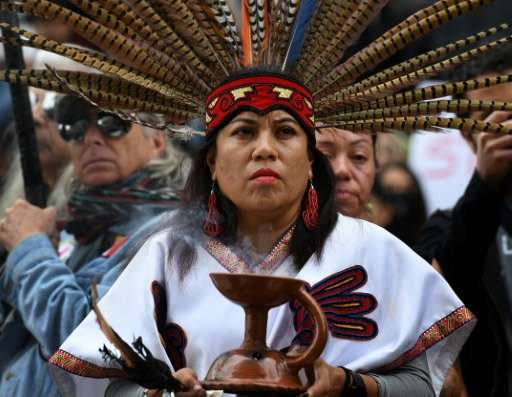This photo taken on February 5, 2017 shows Native American and demonstrators marching to the Federal Building in Los Angeles in