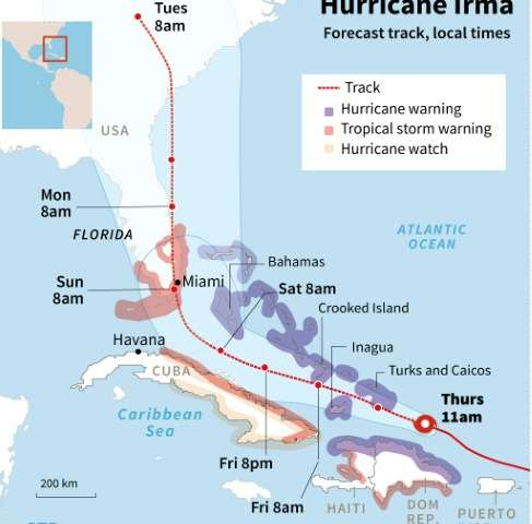 Updated forecast track of Hurricane Irma, close-up on the Caribbean.