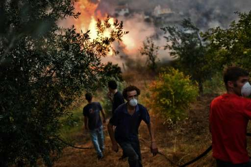 Villagers from Pucarica help to extinguish of a wildfire burning in their orchards close to their village in Abrantes area on Au