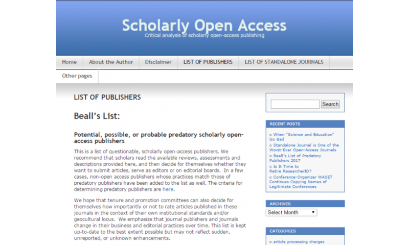 Who will keep predatory science journals at bay now that Jeffrey Beall's blog is gone?