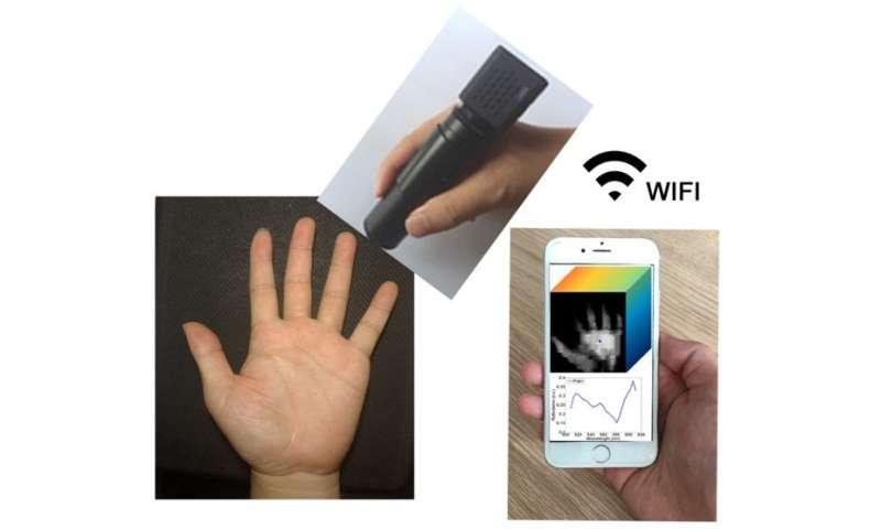 Wireless handheld spectrometer transmits data to smartphone