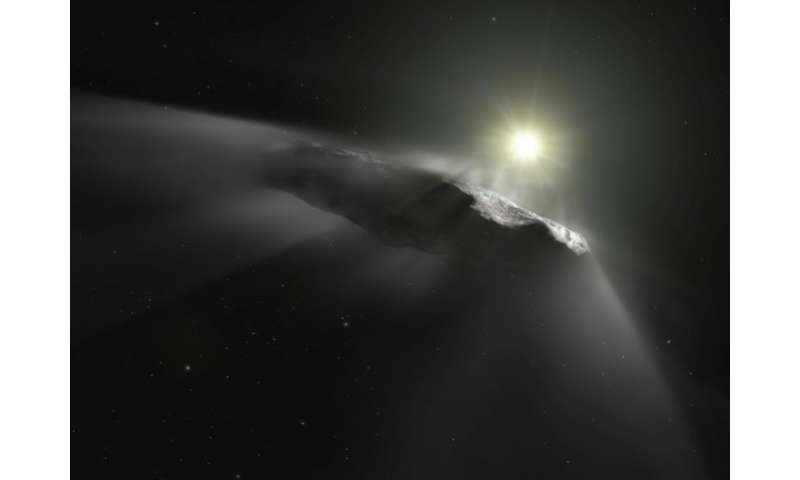 A photo released by the European Space Agency on June 27, 2018 shows an artist's impression of Oumuamua