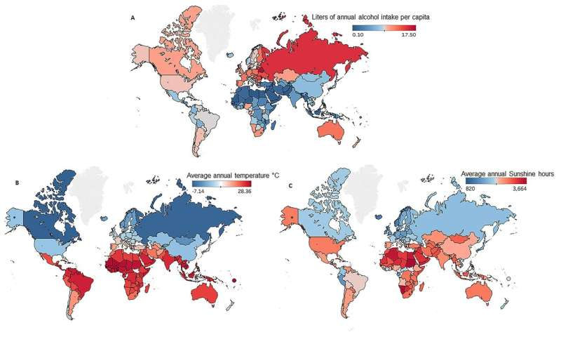 Colder, darker climates increase alcohol consumption and liver disease
