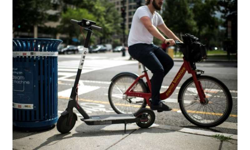 Electric scooters, available via smartphone app, can be an alternative to bike-sharing in cities
