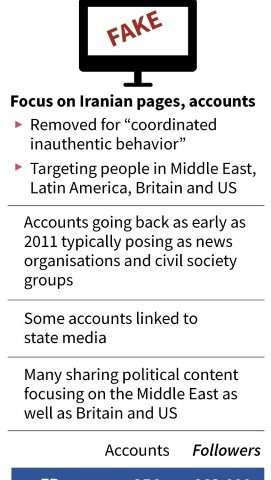 Facebook and Twitter unveiled fresh crackdowns on misinformation campaigns from Russia and Iran as analysts warned of more effor