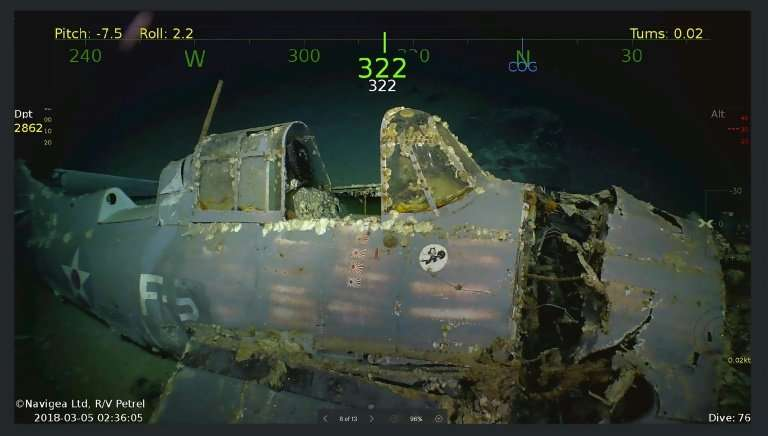Handout photo obtained March 5, 2018 courtesy of Microsoft co-founder Paul G. Allen showing wreckage from the USS Lexington airc