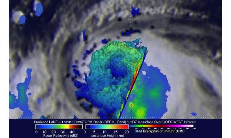 Intensifying Hurricane Lane examined by GPM satellite
