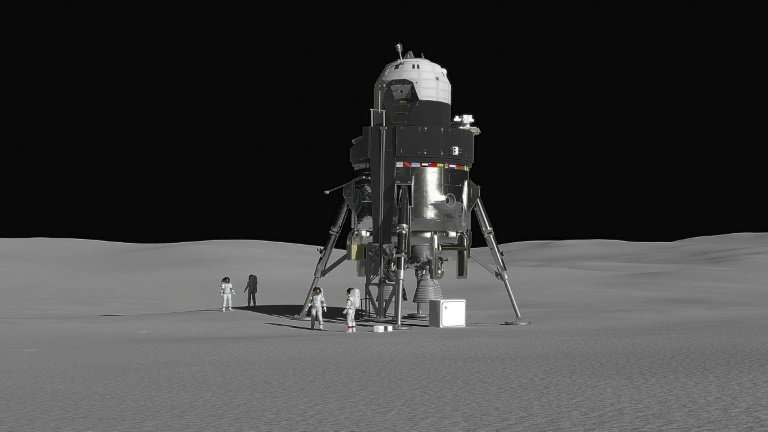 Lockheed Martin's lunar lander concept vehicle is designed to carry a crew of four and be able to stay on the moon for up to two