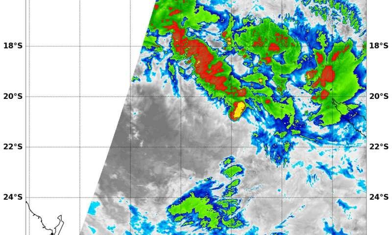 NASA finds Tropical Cyclone Iris sheared