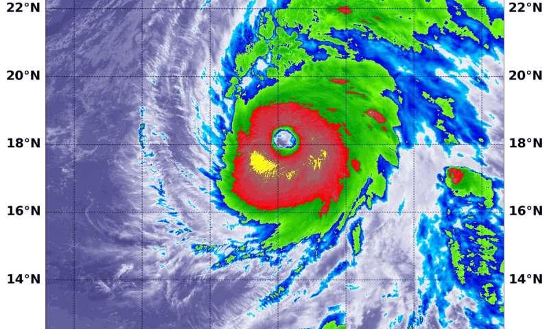 NASA peers into the large clear eye of Hurricane Walaka