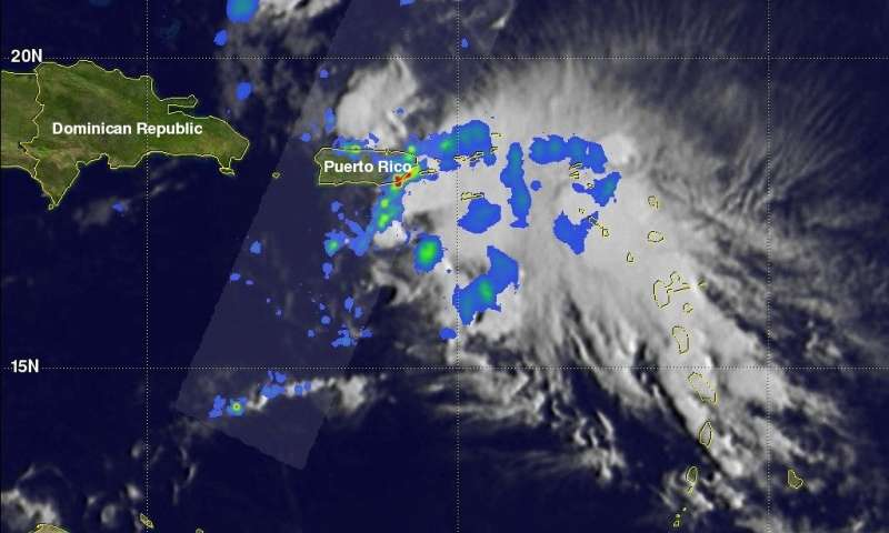 NASA's GPM satellite obtains excellent views of Beryl's remnants