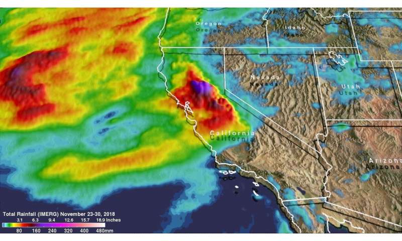 NASA's IMERG measures heavy rainfall in California wildfire areas