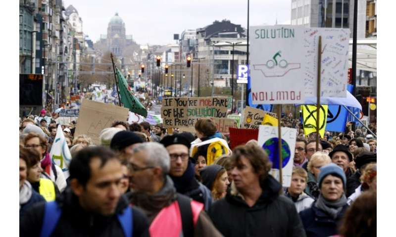 Organisers said the event was the biggest climate march ever in Belgium