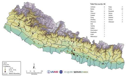 Satellite data aids forest fire detection and monitoring in Nepal