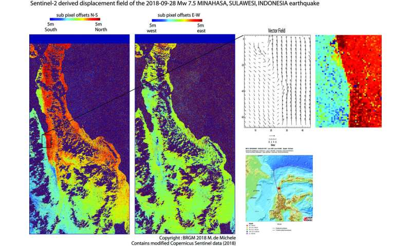 Sentinel-2 maps Indonesia earthquake
