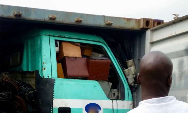 Thousands of tons of e-waste is shipped illegally to Nigeria inside used vehicles