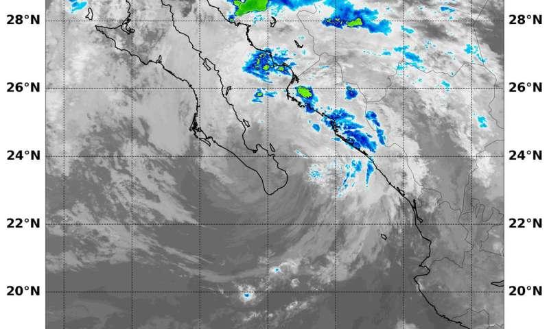 NASA finds Tropical Depression Bud's rains over mainland Mexico
