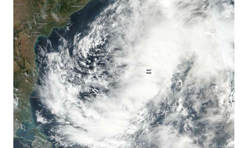 NASA-NOAA Satellite finds a large Tropical Cyclone Gaja