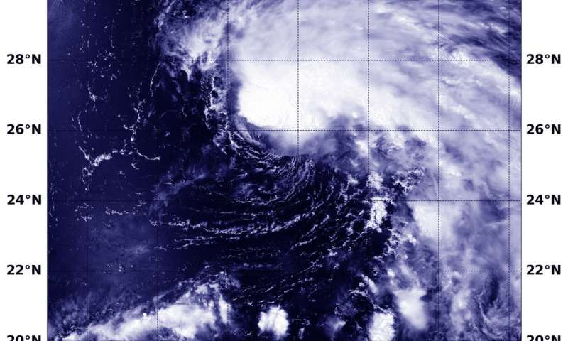 NASA finds tropical storm Wukong's comma shape