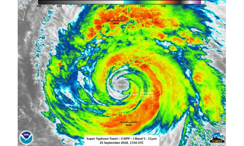 NASA-NOAA's Suomi NPP Satellite gets an infrared view of Typhoon Trami