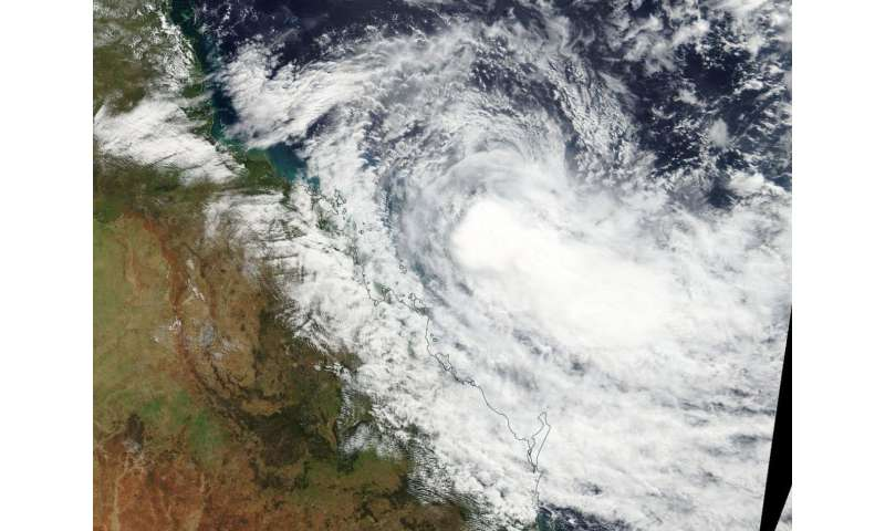 NASA sees Tropical Cyclone Iris weakening off Queensland coast