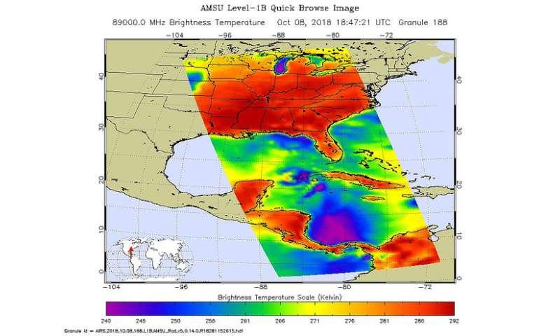 NASA's Aqua satellite sees Hurricane Michael strengthening