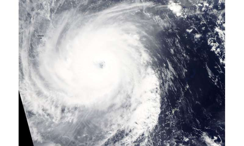 NASA's Aqua Satellite tracks super Typhoon Yutu's oblong eye
