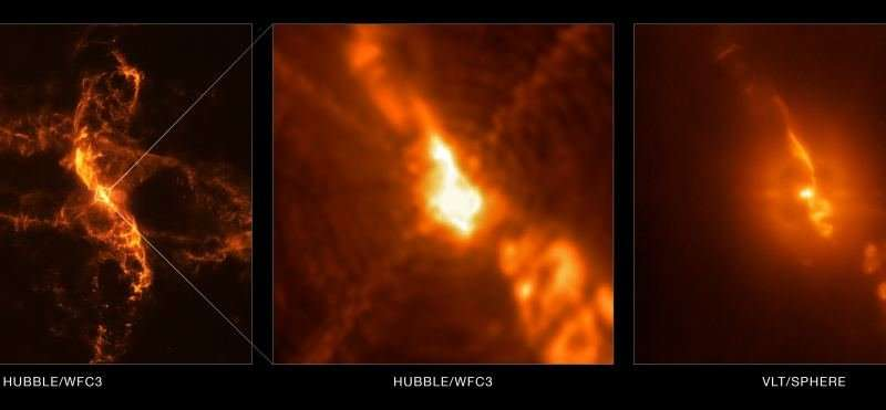 Actual image of a white dwarf feeding on material from a larger red giant 650 light years from Earth