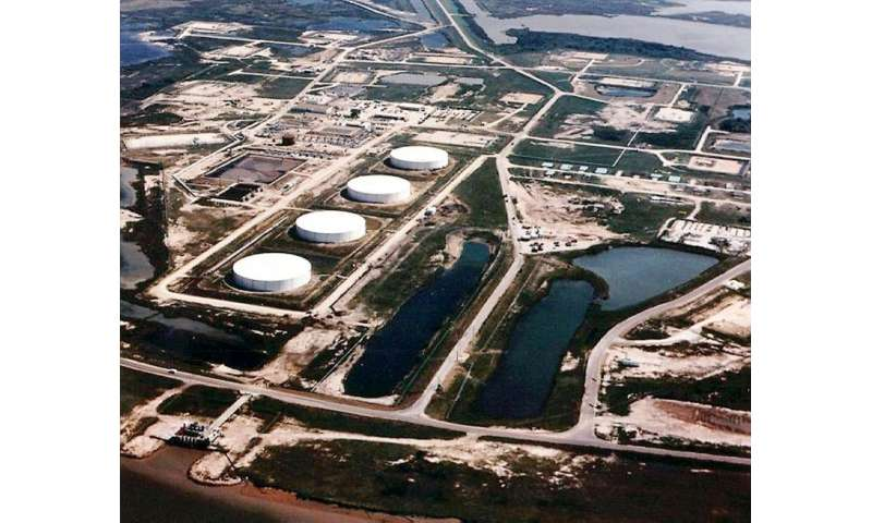 The Bryan Mound storage facility in Brazoria County, Texas, one of four Strategic Petroleum Reserve (SPR) sites in the US